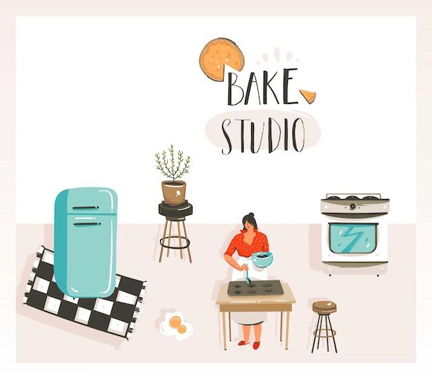 Ручной обращается вектор абстрактный современный мультфильм кулинарный класс иллюстрации с ретро винтаж женщина шеф-повар, холодильник и выпечка студия рукописной современной каллиграфии, изолированные на белом фоне