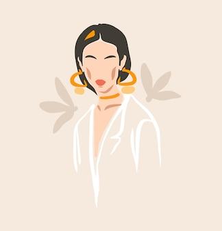 Ручной обращается вектор абстрактный фондовый плоский графический современная эстетическая мода иллюстрация с богемным, красивым современным женским портретом в простом модном минимальном стиле, изолированном на пастельном фоне.