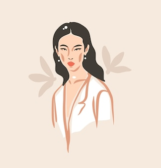 Hand drawn vector abstract stock flat graphic contemporary aesthetic fashion illustration