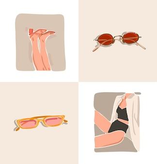 Ручной обращается вектор абстрактный фондовый плоский графический современная эстетическая коллекция иллюстраций моды с богемным, красивым современным коллажем женского тела и аксессуарами для солнцезащитных очков в минималистском стиле