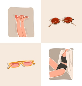 Hand drawn vector abstract stock flat graphic contemporary aesthetic fashion illustrations collection set with bohemian,beautiful modern collage female body and sunglasses accessories in minimal style