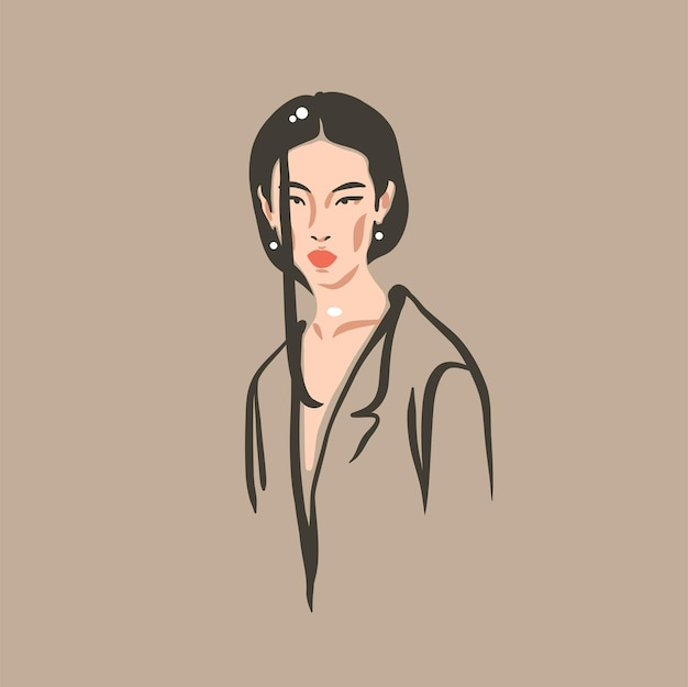 Hand drawn vector abstract stock flat graphic contemporary modern artaesthetic fashion illustration ...