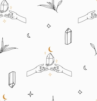 Hand drawn vector abstract stock flat graphic illustration seamless pattern with bohemian magic line art of crystal stone,human hands and star in simple style for branding,isolated on white background