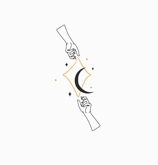 Hand drawn vector abstract stock flat graphic illustration with branding logobohemian celestial magi...