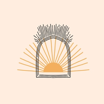 Hand drawn vector abstract stock flat graphic illustration with logo element,bohemian astrology magic minimalistic emblem of mystic line arch portal and golden sun with rays,simple style for branding.