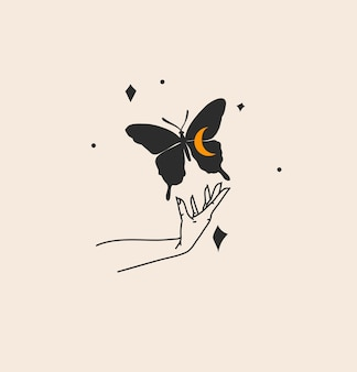 Hand drawn vector abstract stock flat graphic illustration with logo element,bohemian magic art of butterfly silhouette in witch woman hand,simple style for branding,isolated on color background.