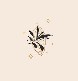 ロゴ要素、クリスタル宝石石の自由奔放に生きる魔法の芸術、ブランディングのためのシンプルなスタイルで、色の背景に分離された花の葉の手描きベクトル抽象ストックフラットグラフィックイラスト。