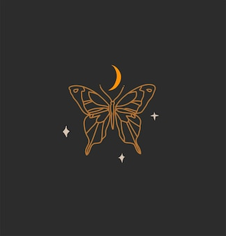 로고 요소가 있는 손으로 그린 벡터 추상 스톡 평면 그래픽 그림, 금 초승달의 보헤미안 마술 예술, 브랜딩을 위한 단순한 스타일의 나비 실루엣, 검정색 배경에 격리.