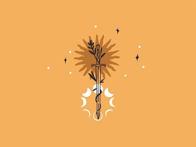 손으로 그린 벡터 추상 스톡 평면 그래픽 그림에는 로고 요소, 태양, 초승달, 달의 위상 및 칼의 매직 라인 아트가 있는 단순한 스타일의 브랜딩이 있으며 색상 배경에 격리되어 있습니다.