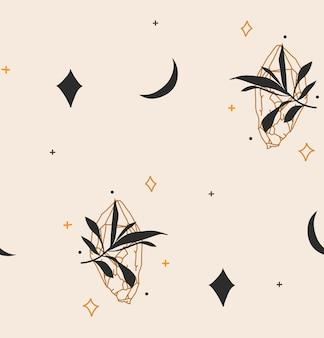 神秘的なミニマルボヘミアン魔法の芸術の海と手描きのベクトル抽象ストックフラットグラフィックイラスト...