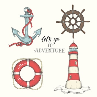 Hand drawn vector anchor, lighthouse, lifebuoy and wheel