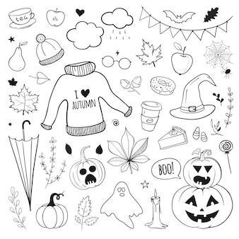 Hand drawn vector autumn doodles isolated on white carved pumpkins sweater umbrella and halloween
