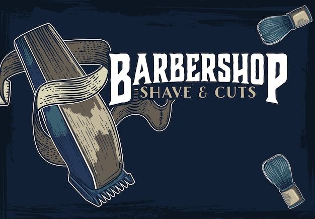 Hand drawn vector barber shop banners