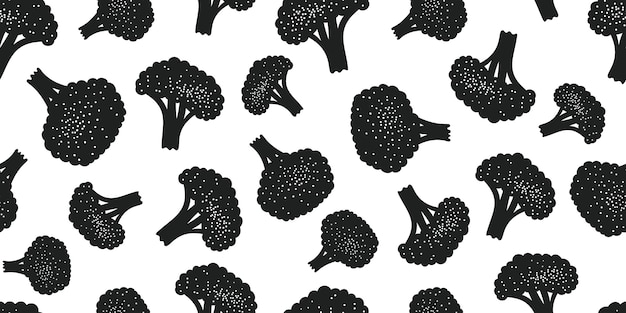 Hand drawn vector broccoli seamless pattern.