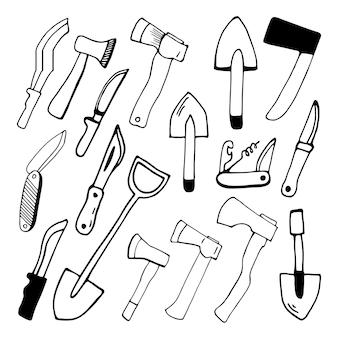 手描きのベクトルキャンプファイヤー斧旅行クリップアート旅行デザイン