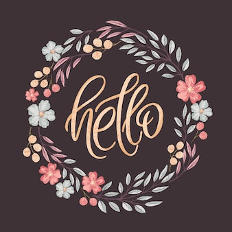 Hand drawn vector card with lettering text Hello in textured floral wreath
