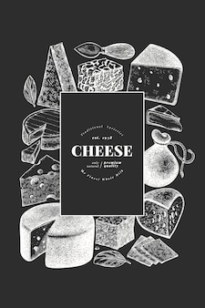 Hand drawn vector dairy illustration on chalkboard