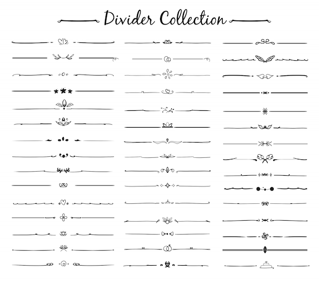 Hand drawn vector of divider ornament set