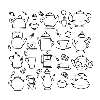 Hand drawn vector doodle illustration of tea kettle. teapot icon line doodle symbol.