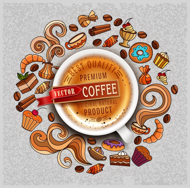 Hand-drawn vector elements on a coffee theme