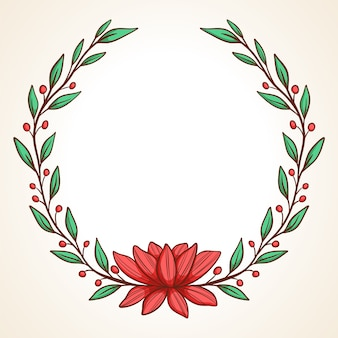 Hand drawn vector frame floral wreath with leaves for wedding and holiday decorative elements for design