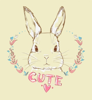 Hand drawn vector illustration of bunny, rabbit with a flowers