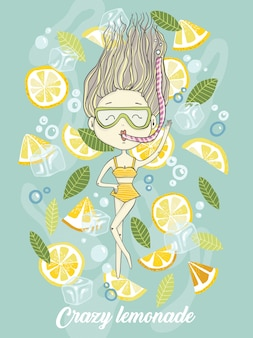 Hand drawn vector illustration of cartoon diving girl in fresh soda lemonade with lemons a