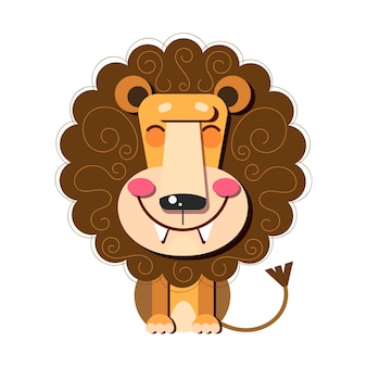 Hand drawn vector illustration of a cute funny lion . isolated objects. flat design. concept for children print.
