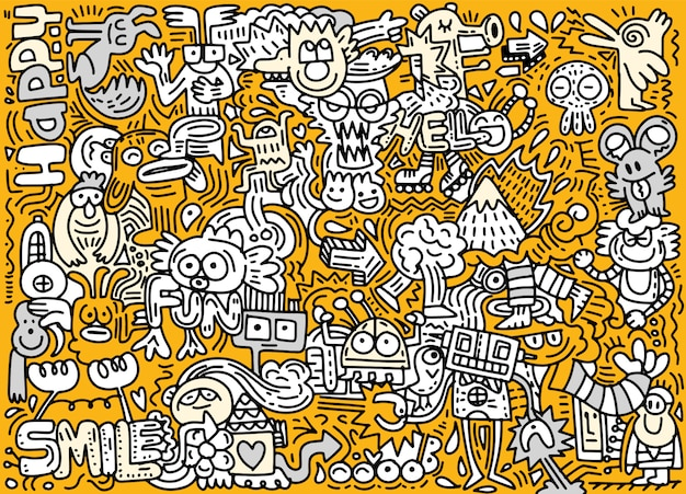 Hand drawn vector illustration of doodle funny world