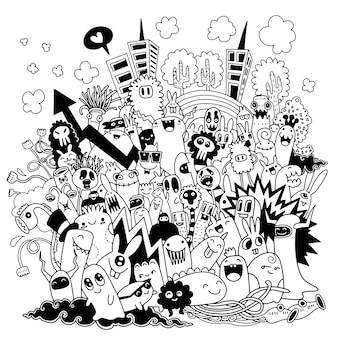 Hand drawn vector illustration of doodle monster city
