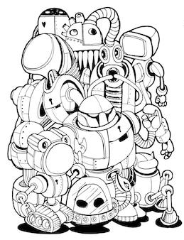 Hand drawn vector illustration of doodle robot element