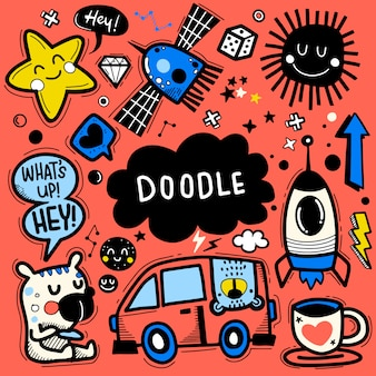 Hand drawn vector illustration of doodle set ,illustrator line tools drawing,flat design