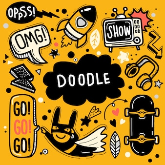 Hand drawn vector illustration of doodle set ,illustrator line tools drawing,flat design