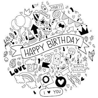 Hand drawn vector illustration happy birthday ornaments freehand drawn doodle elements party