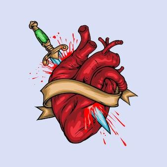 Hand drawn vector illustration heart stabbed by dagger