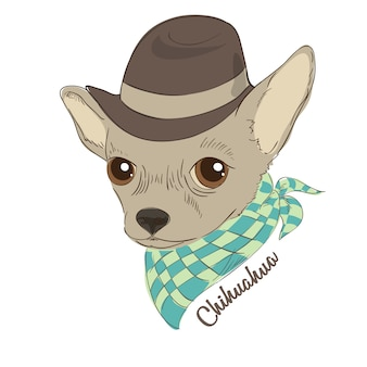 Hand drawn vector illustration of hipster dog