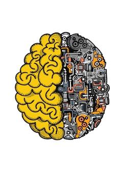 Hand drawn vector illustration of human machine brain