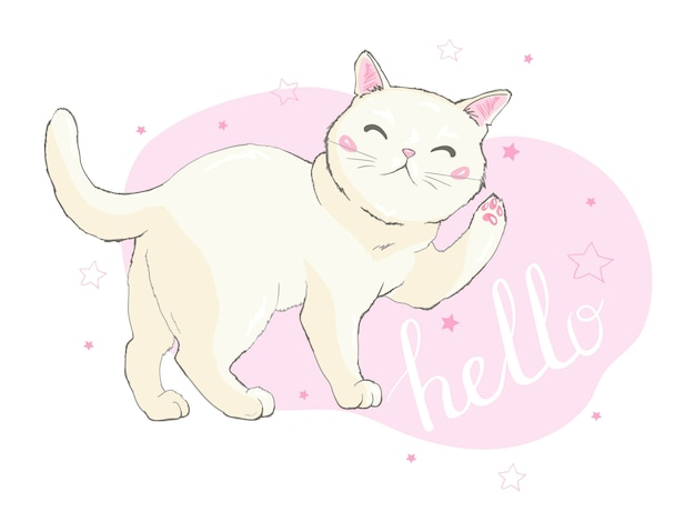 Hand drawn vector illustration of a kawaii funny unicorn cat