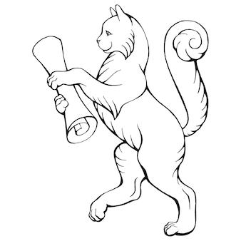 Рисованной векторные иллюстрации черно-белой гуляющей кошки со свитком, изолированной на белом