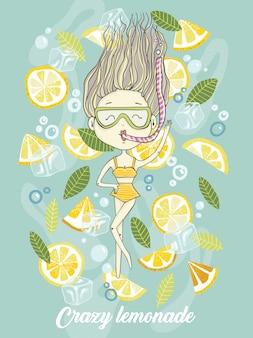 新鮮なソーダレモネードでレモンを持つ漫画ダイビングの女の子の手描きのベクトル図a