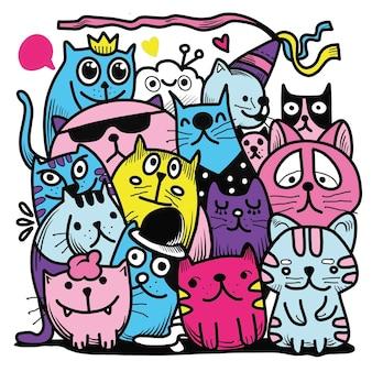 Рисованной векторные иллюстрации каракули cat group, рисование инструментов линии иллюстратора