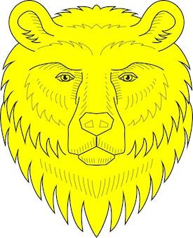 クマの紋章の頭の手描きのベクトル図