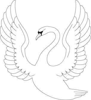 本やページを着色するための白い背景で隔離の白鳥の手描きのベクトル図