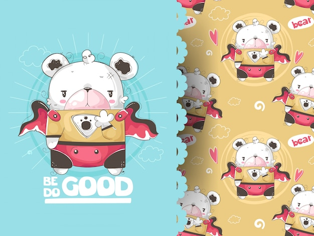 Hand drawn vector illustration and pattern of a cute funny bear