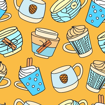 Hand drawn vector illustration of seamless pattern with christmas and winter drinks