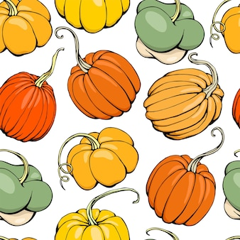 Hand drawn vector illustration of seamless pattern with pumpkins isolated on white background