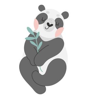 かわいいパンダと竹の手描きベクトルイラスト