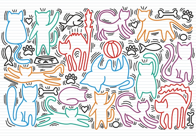 Hand drawn vector illustrations of cats characters.