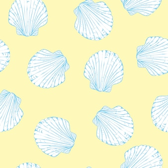 Hand drawn vector illustrations - seamless pattern of seashells.