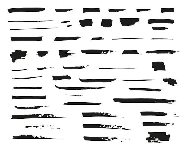 Hand drawn vector lines black marker and grunge brush strokes
